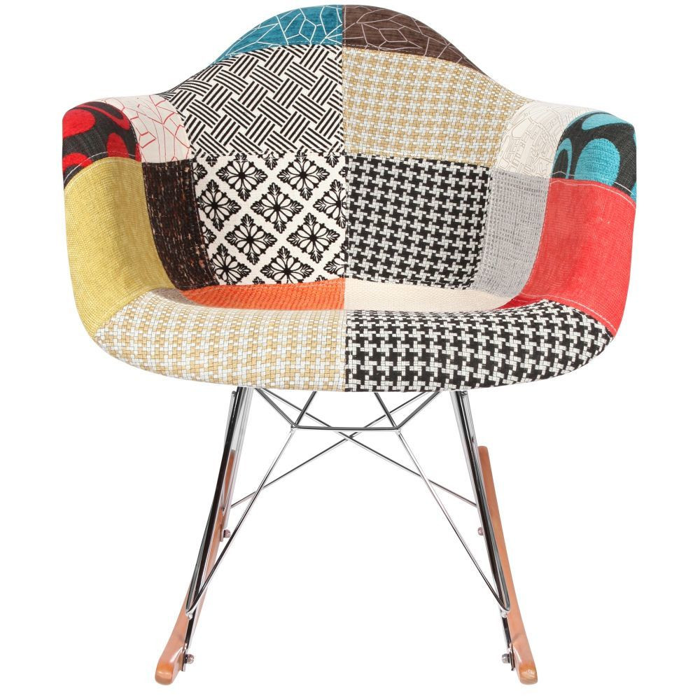 Chaise rocking chair patchwork eames rar - Chaise eleven patchwork colors ...