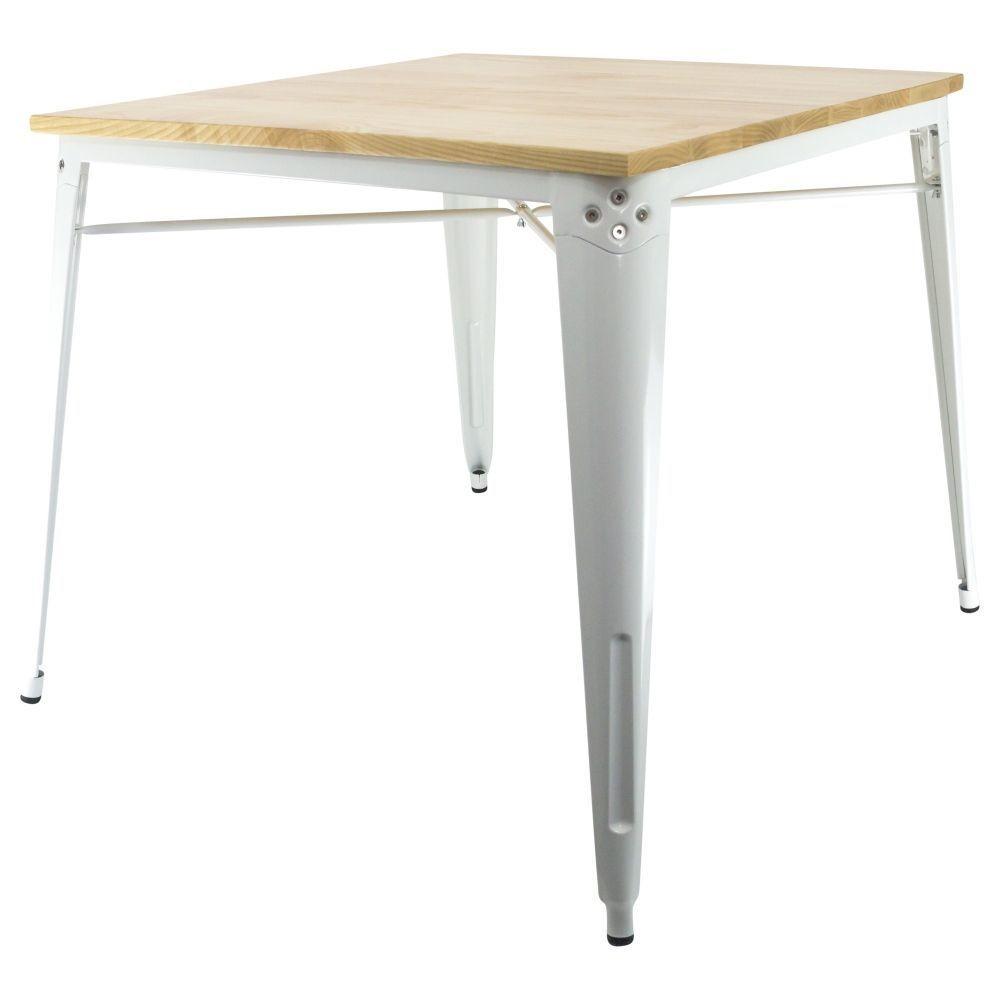 table industrielle avec finition en bois. Black Bedroom Furniture Sets. Home Design Ideas