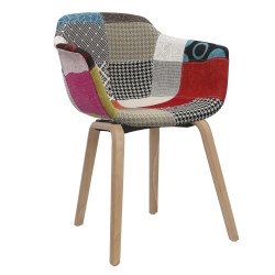 Fauteuil Scandinave Patchwork Tissu ANW