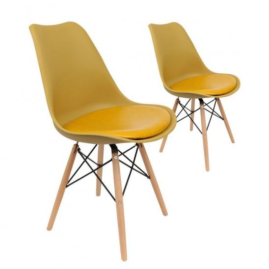 Lot de 2 chaises scandinaves moutardes